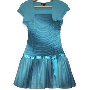 BCX girl Glitter Teal Drop Waist Formal Dress -HP